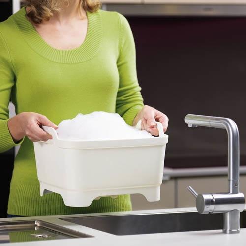Емкость для мытья посуды со сливом Joseph Joseph Wash And Drain белая, фото