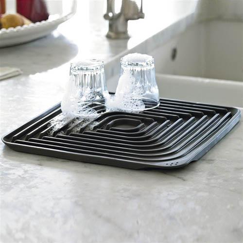 Коврик для сушки посуды Joseph Joseph Wash n Drain Flume серого цвета, фото