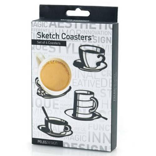Набор подставок под напитки Peleg Design Sketch Coasters 4 шт, фото