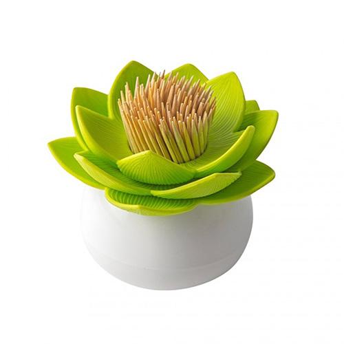 Подставка для зубочисток Qualy Lotus белая с зеленым, фото