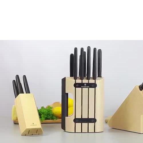 Набор Victorinox из 5 ножей с черными рукоятями Fibrox и подставкой, фото