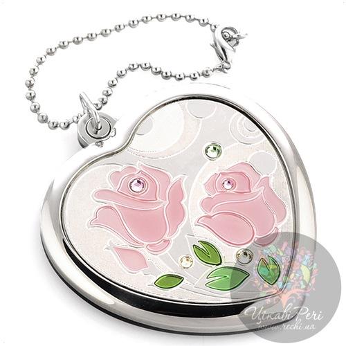 Зеркальце Jardin Dete Летний сад Роза на магните в форме сердца, фото