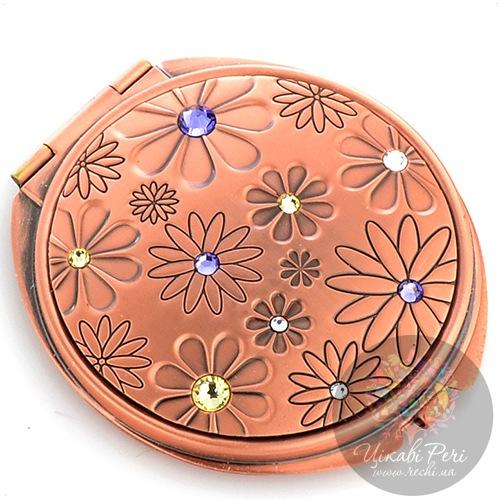 Зеркальце Jardin Dete Летний сад двойное круглое в розовом золоте со стразами, фото