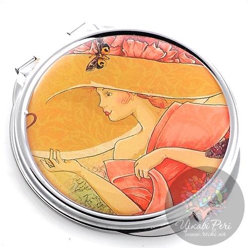 Зеркальце Jardin Dete Летний сад Дама в шляпе двойное круглое, фото
