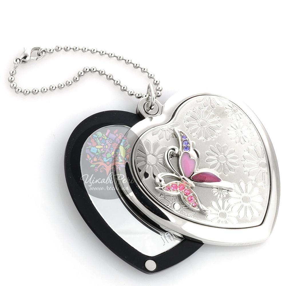 Зеркальце Jardin Dete Летний сад Сиреневая бабочка на магните в форме сердца