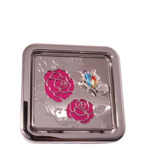 Зеркальце Jardin Dete квадратное украшенное рисунком роз и бабочки
