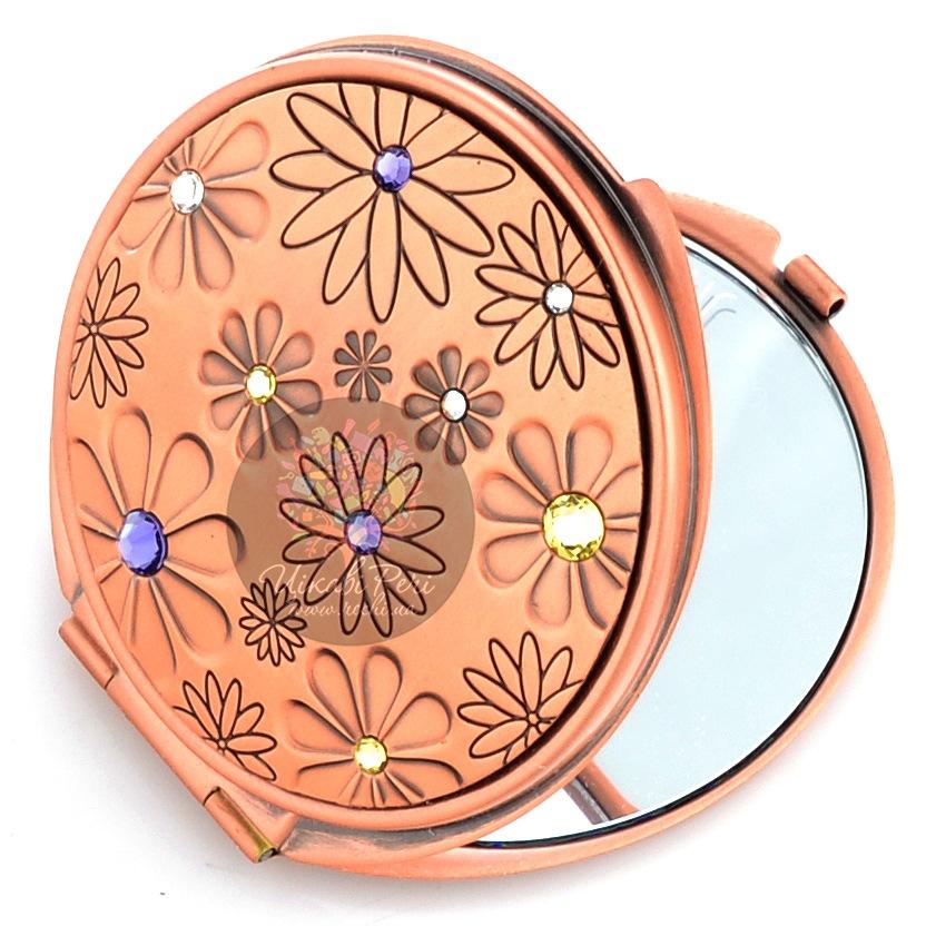 Зеркальце Jardin Dete Летний сад двойное круглое в розовом золоте со стразами