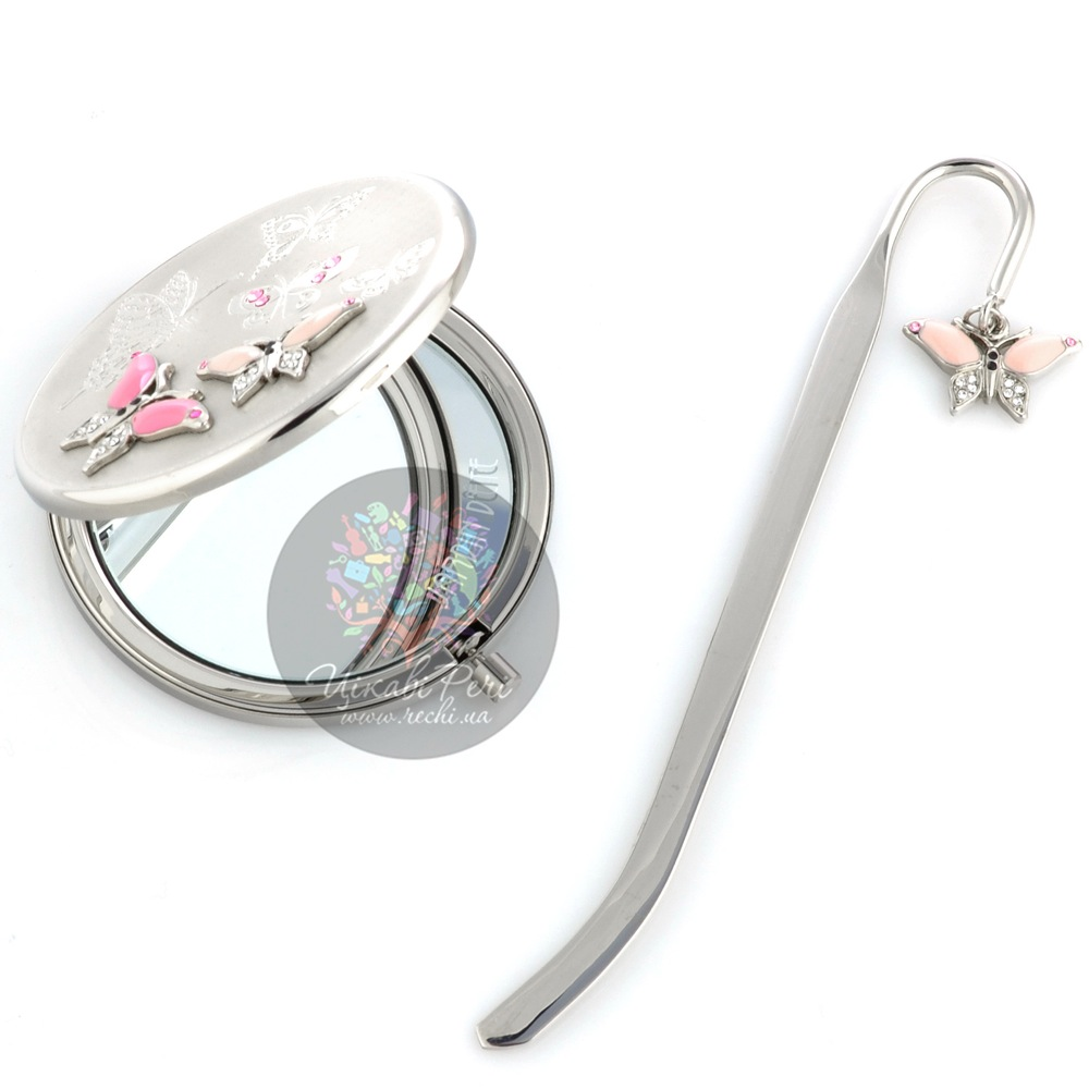 Набор Jardin Dete Летний сад Розовые бабочки из зеркальца и закладки