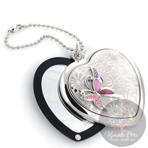 Зеркальце Jardin Dete Летний сад Сиреневая бабочка на магните в форме сердца, фото