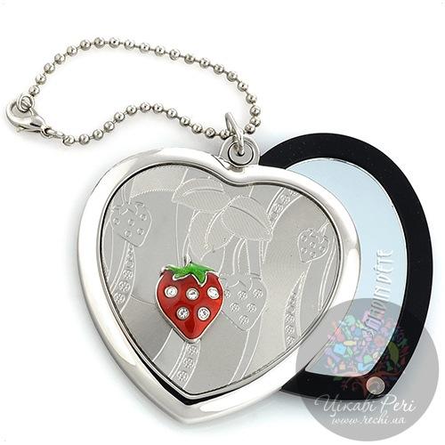 Зеркальце Jardin Dete Летний сад Клубника на магните в форме сердца, фото
