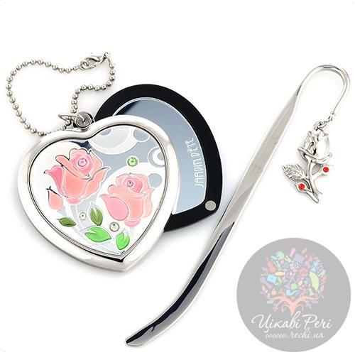 Набор Jardin Dete Летний сад Розы из зеркальца и закладки, фото