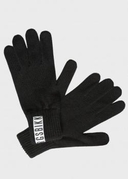 Вязаные перчатки Bikkembergs черного цвета, фото