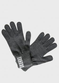 Серые перчатки Bikkembergs с логотипом, фото