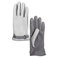 Женские перчатки AMO Accessori из твида и серой кожи, фото