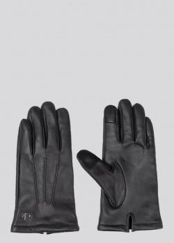 Перчатки Calvin Klein из черной кожи со строчкой, фото