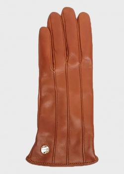Коричневые перчатки Coccinelle с брендовым декором, фото