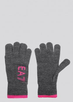 Текстильные перчатки EA7 Emporio Armani серого и розового цвета, фото