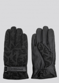 Черные кожаные перчатки Emporio Armani с логотипом, фото