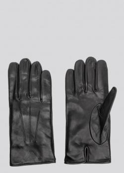 Утепленные перчатки Emporio Armani из черной кожи, фото