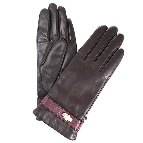 Утепленные перчатки Cavalli Class Gloves из коричневой кожи с бордовым ремешком, фото