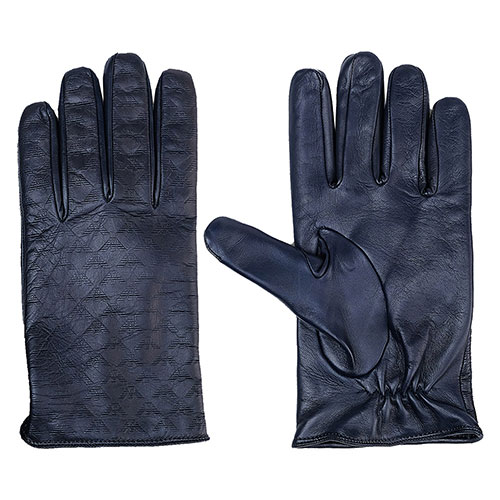 Мужские перчатки Emporio Armani из синей кожи с тиснением, фото