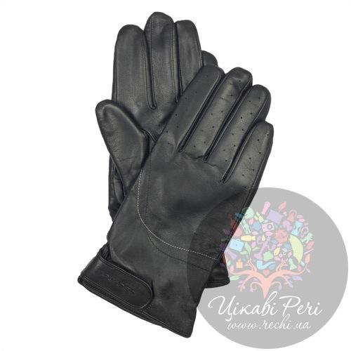 Мужские кожаные перчатки с регулируемым запястьем черные Piquadro Guanti (размер L), фото