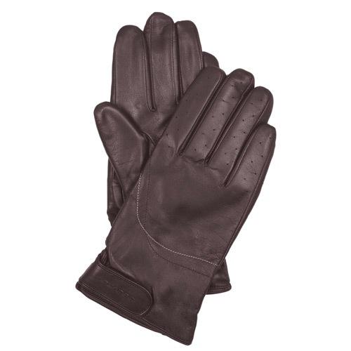 Мужские кожаные перчатки Guanti с регулируемым запястьем коричневые, фото
