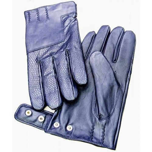 Мужские перчатки Guanti кожаные текстурные синие на кнопке, фото