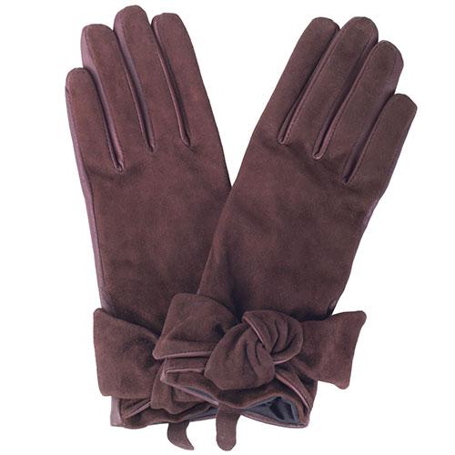 Коричневые перчатки с бантом Twin-Set Simona Barbieri из кожи и замши, фото