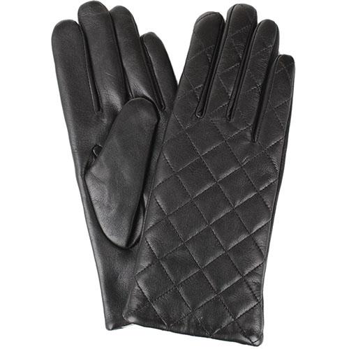 Женские кожаные перчатки стеганые Tosca Blu черного цвета, фото