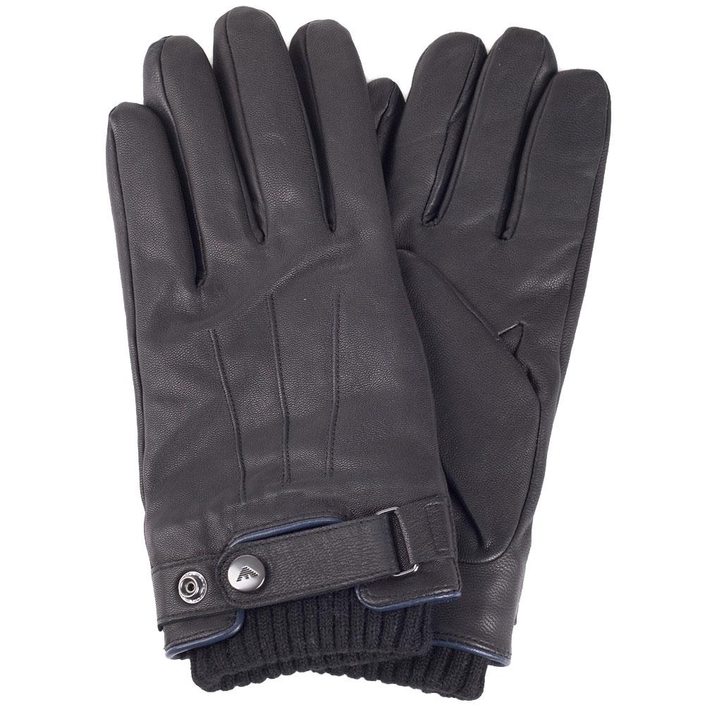 Черные мужские перчатки Armani Jeans из кожи с трикотажными манжетами