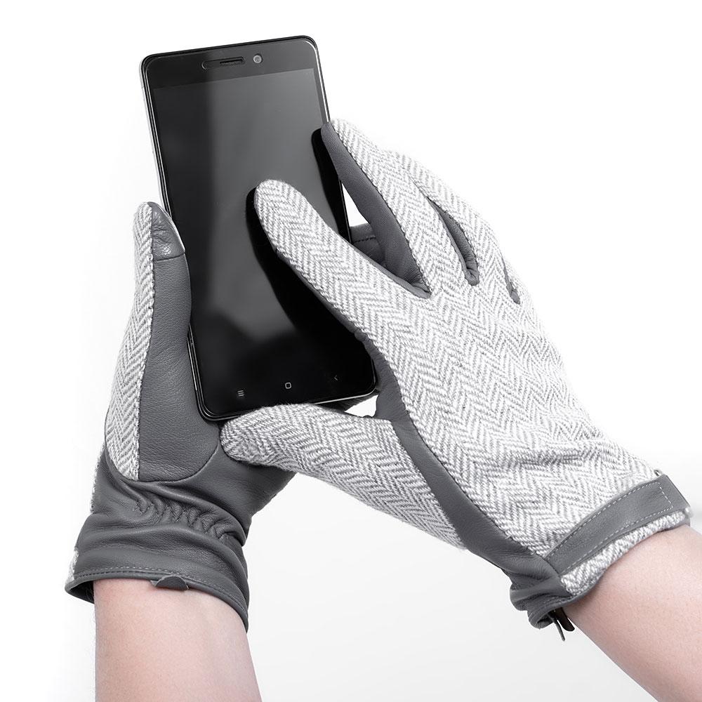 Женские перчатки AMO Accessori из твида и серой кожи