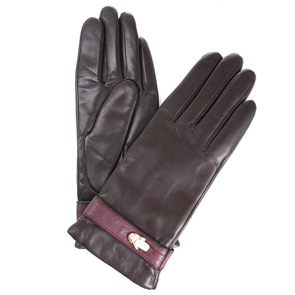 Утепленные перчатки Cavalli Class Gloves из коричневой кожи с бордовым ремешком