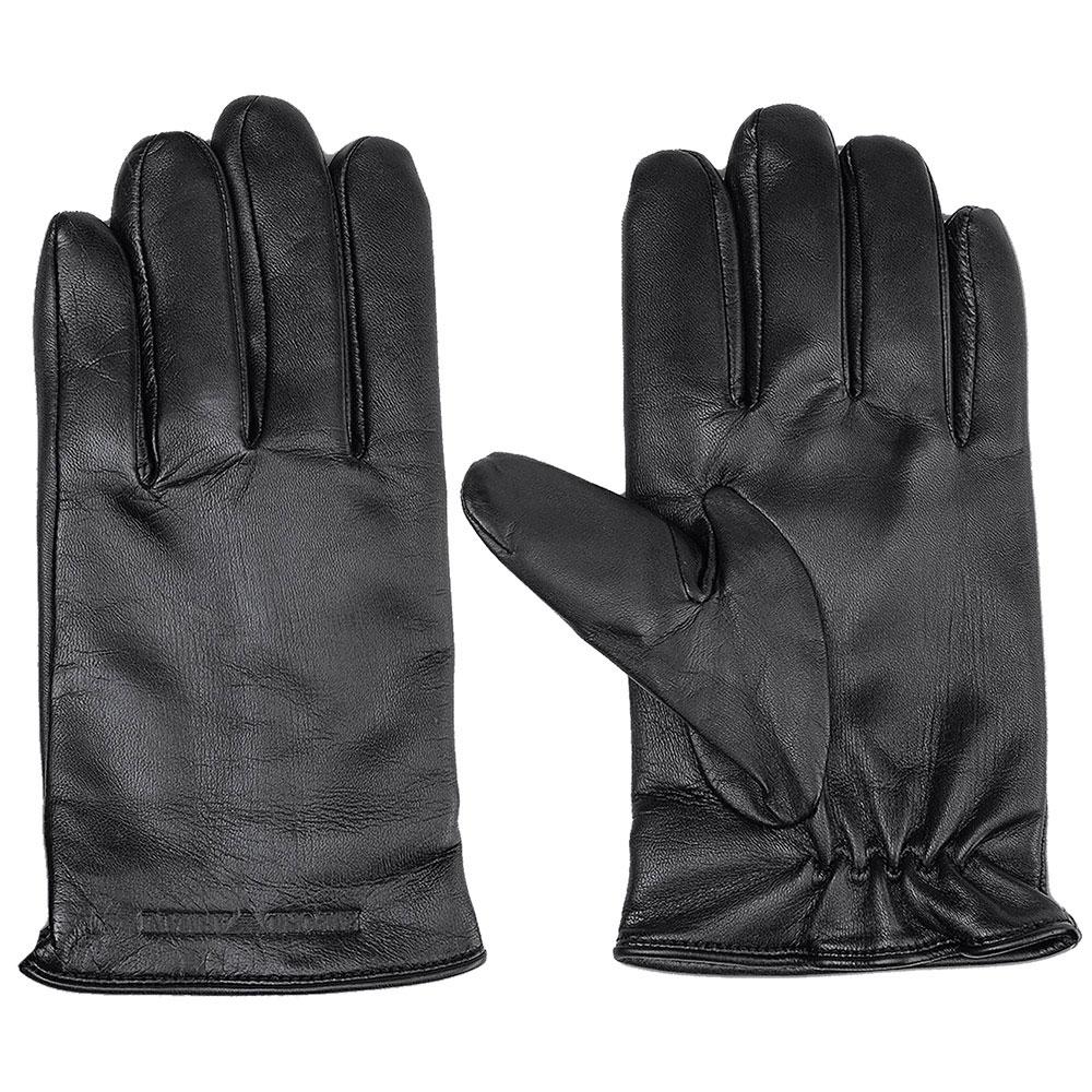 Мужские перчатки Emporio Armani из гладкой черной кожи