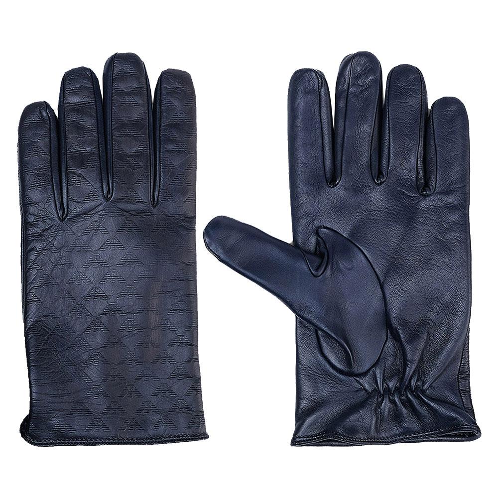 Мужские перчатки Emporio Armani из синей кожи с тиснением