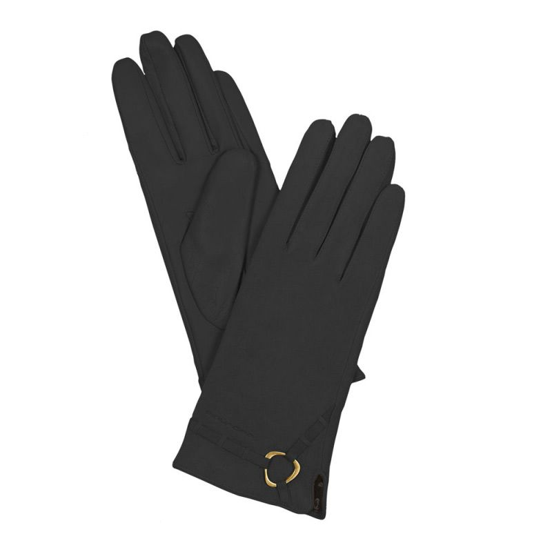 Женские кожаные перчатки черные (размер M)