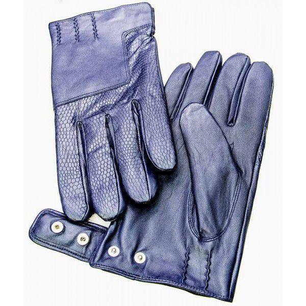 Мужские перчатки Guanti кожаные текстурные синие на кнопке