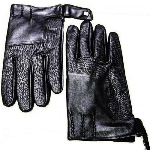 Мужские перчатки Guanti кожаные текстурные черные на кнопке
