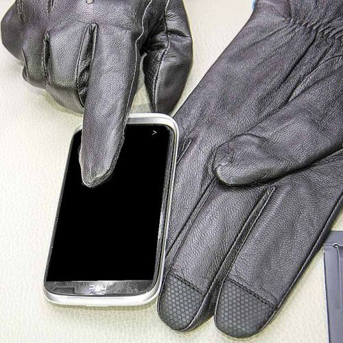 Мужские перчатки Guanti коричневые со вставками для сенсорных экранов