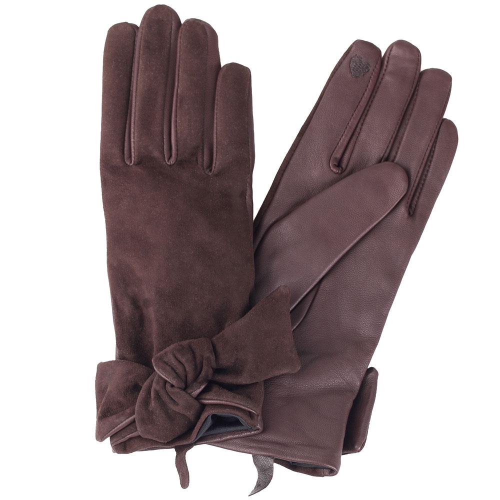 Коричневые перчатки с бантом Twin-Set Simona Barbieri из кожи и замши