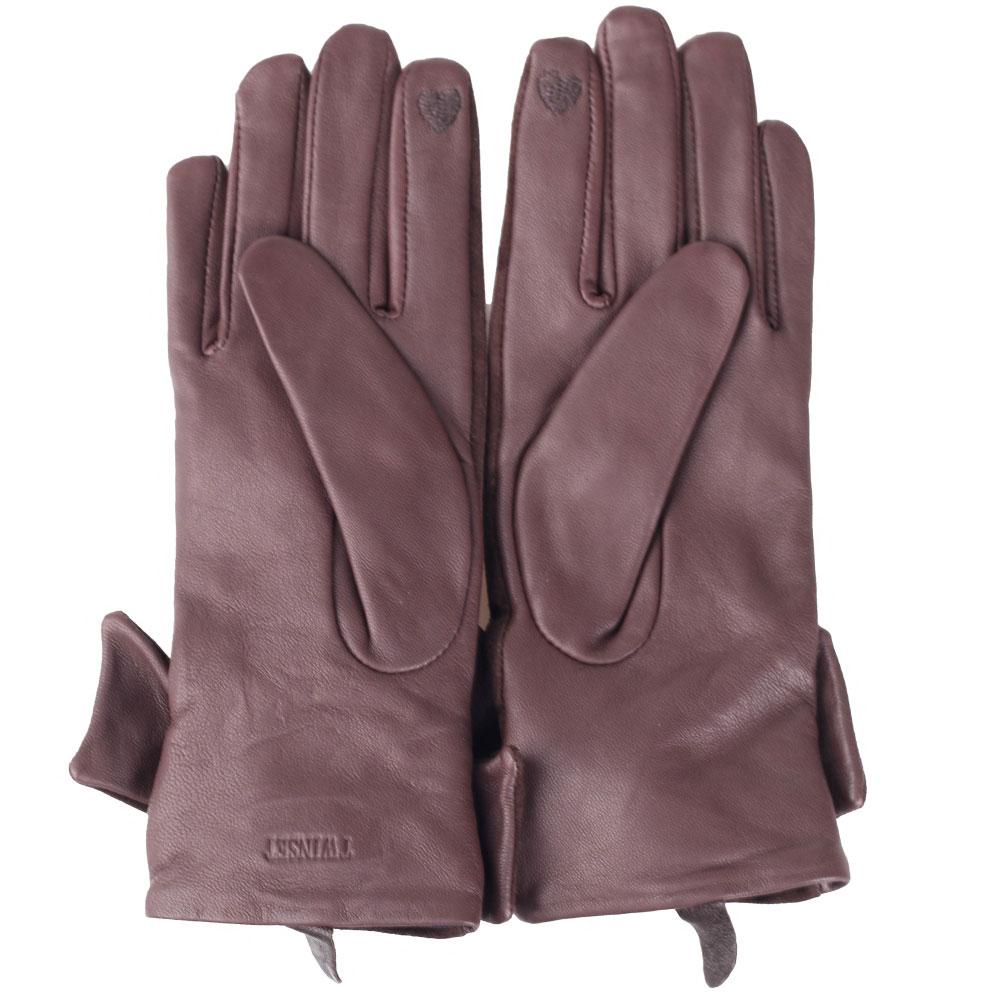 Коричневые перчатки с бантом Twin-Set из кожи и замши