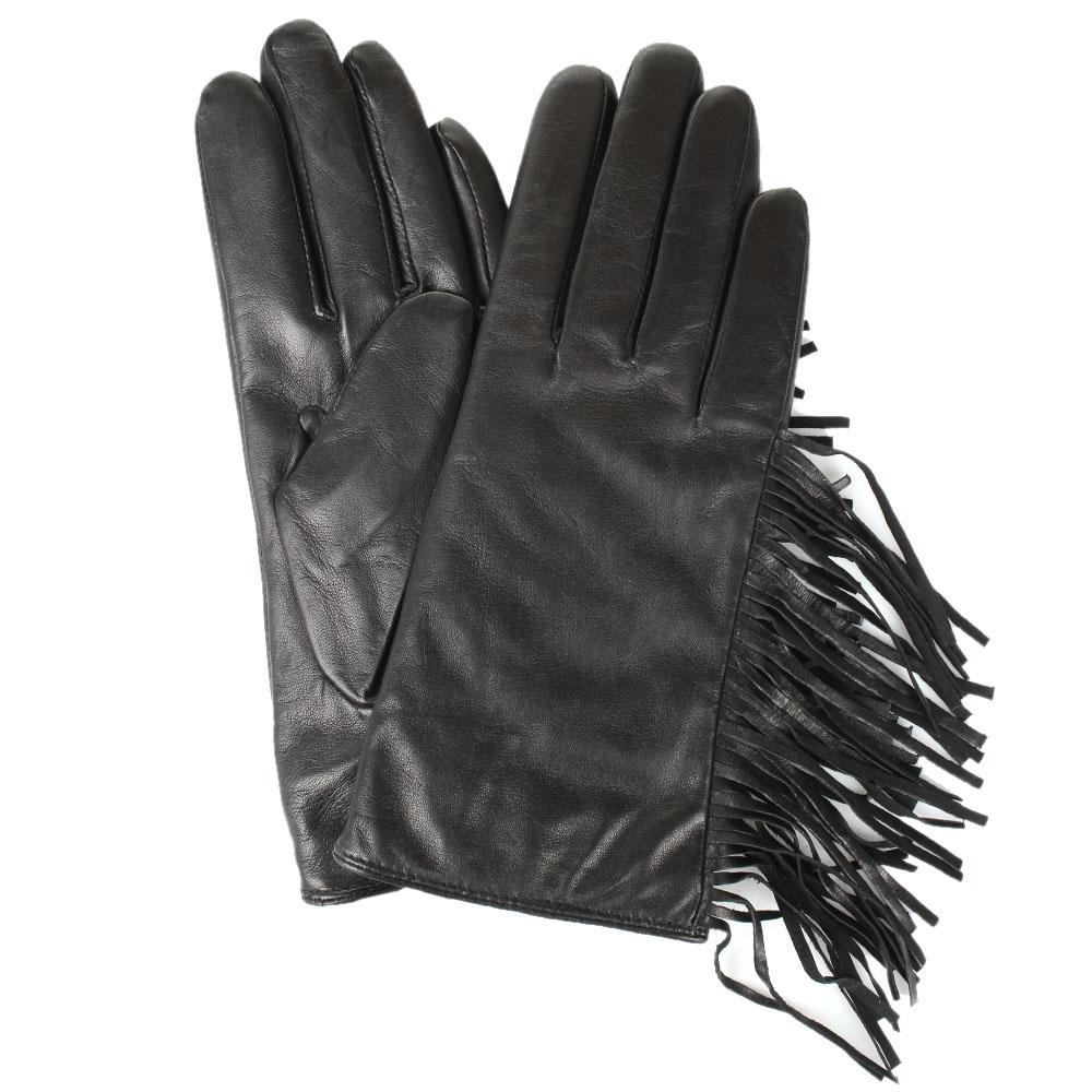 Женские кожаные перчатки Tosca Blu декорированные бахромой