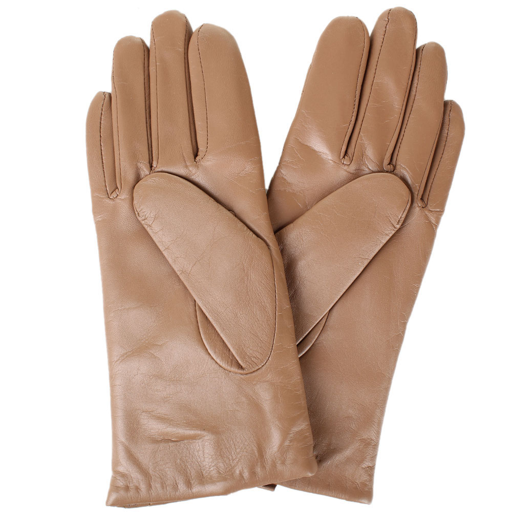 Женские кожаные перчатки стеганые Tosca Blu коричневого цвета