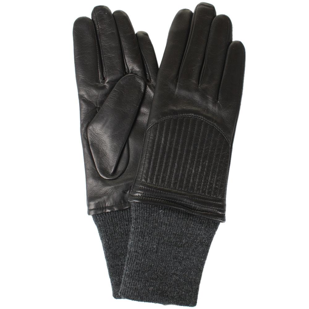 Женские перчатки кожаные Tosca Blu с вязаным манжетом