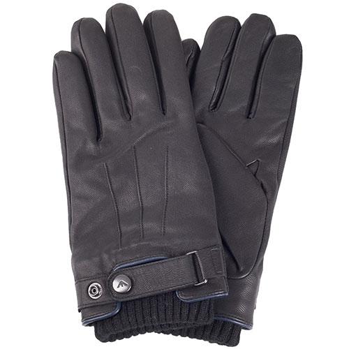 Черные мужские перчатки Armani Jeans из кожи с трикотажными манжетами, фото