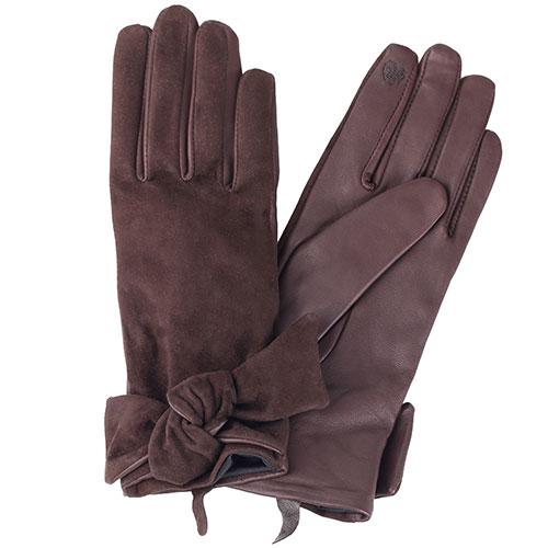 Коричневые перчатки с бантом Twin-Set из кожи и замши, фото