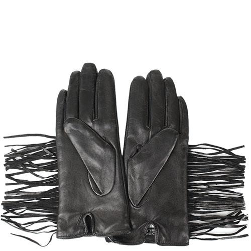 Женские кожаные перчатки Tosca Blu декорированные бахромой, фото