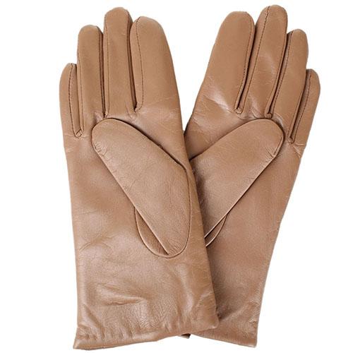 Женские кожаные перчатки стеганые Tosca Blu коричневого цвета, фото