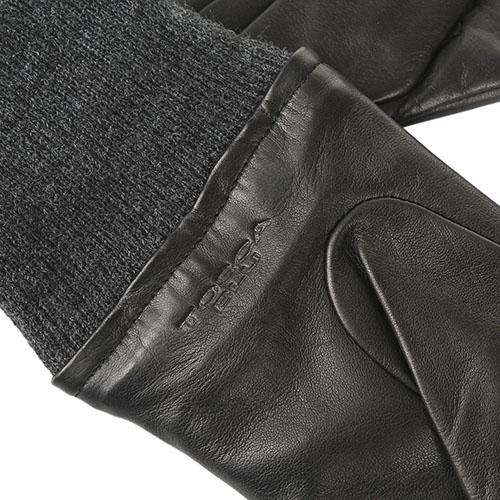 Женские перчатки кожаные Tosca Blu с вязаным манжетом, фото