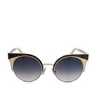 Солнцезащитные очки Jimmy Choo в металлической оправе золотистого цвета с черными элементами, фото